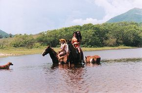 horseback riding through the lagoon